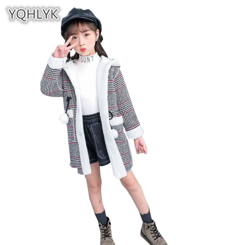 Children's autumn winter girls woolen coat Korean plaid hooded fashion girl jacket plus velvet long kids coats LK233 drape plus size plaid coat