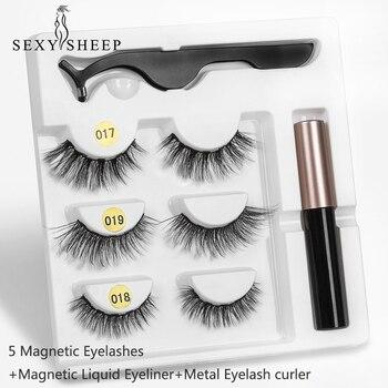 3pair 5 Magnetic Eyelashes 3D Faux mink Eyelashes Magnet Lashes Magnetic Liquid Eyeliner&Magnetic False Eyelashes & Tweezer Set
