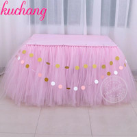 2m*1.33m Tulle Table Skirt TUTU Tableware Free send Tablecover Banner Customize Wedding Baby Shower Birthday Party Decor
