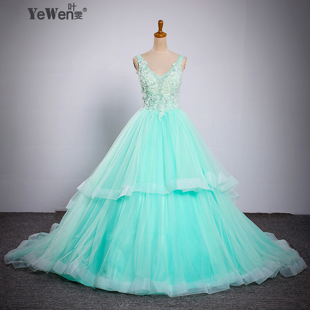 2018 NEW lace Beaded shoulders Crystal Blue/Champarne/ Wedding dress ...