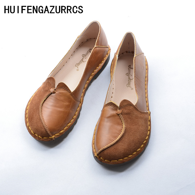 HUIFENGAZURRCS-Original 2018 spring retro national wind single shoe female handmade Genuine Leather pure handmade splicing Fltas huifengazurrcs new pure handmade casual