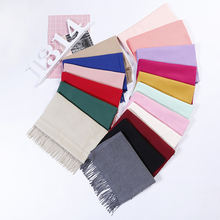 2018 Winter Scarf Women Faux Cashmere Pashmere Lady Shawl Long Scarves Solid Wool Wraps with Tassels LX00968