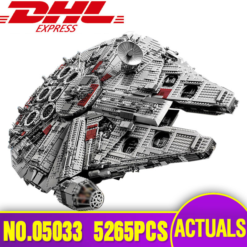LEPIN 05033 Star series War Ultimate Collector's Millennium Model Building Falcon Blocks Bricks DIY Toy Compatible Legoing 10179 2018 dhl lepin star series war 05007 05033 05132 building blocks bricks model toys compatible 75105 10179 75192 gifts