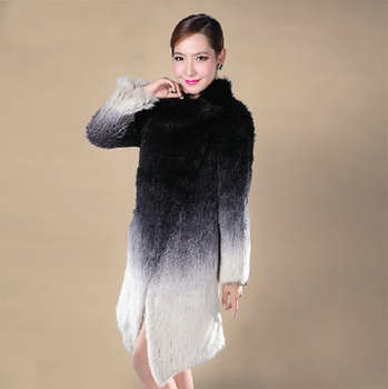 EMS FREE SHIPPING. 100% Real Knitted Rabbit Fur Coat , Natural Rabbit  Fur Long Coat Gradient Color No. SU-1312 2