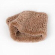 Женские вязаные шарфы с кольцами, зимние шарфы из 100% натурального меха норки, шали для женщин, 2019