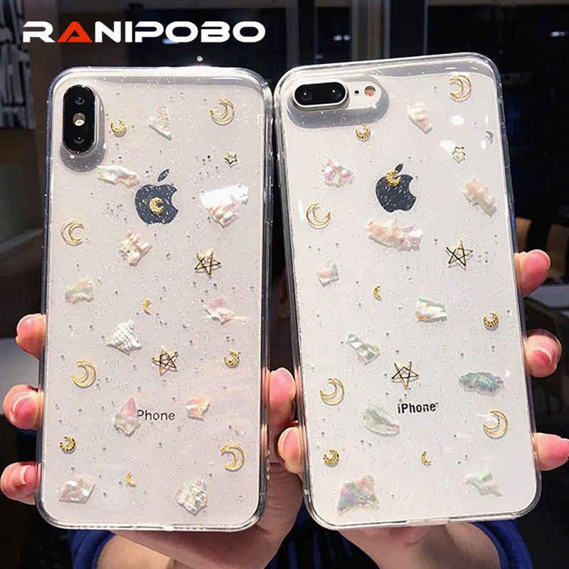 Funda de teléfono transparente epoxi de moda para iphone 6 6s 7 8 Plus XS Max XR XS polvo brillante luna estrella Concha suave carcasas Coque