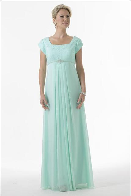 new 2017 Mint Modest Chiffon Lace Maternity Bridesmaid Dresses Cap ...
