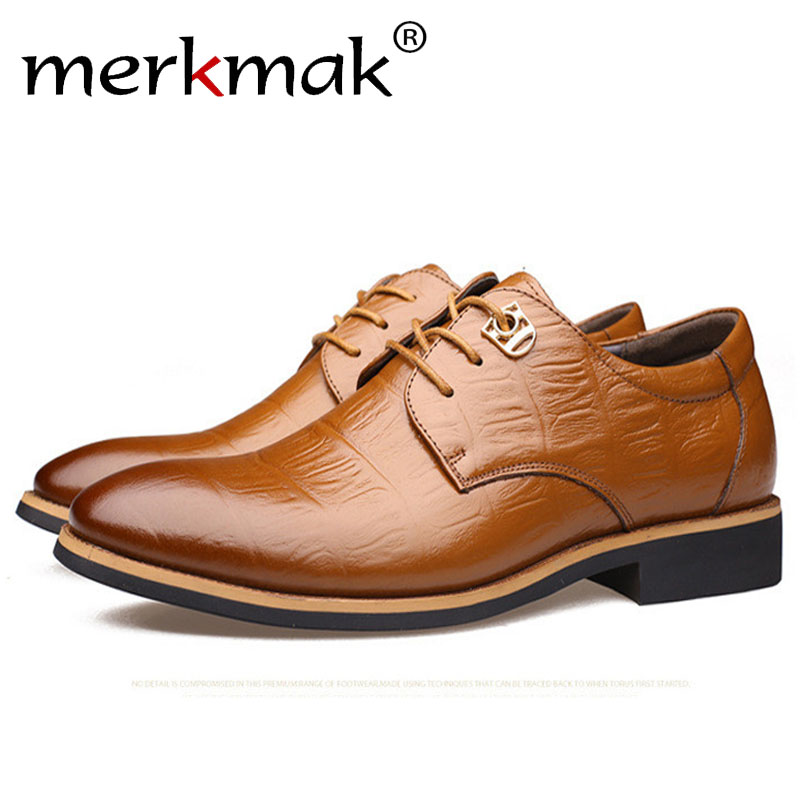Merkmak Genuine Leather Men's Shoes 2018 Fashion Casual Bussiness Breathable Men Shoes Sapatos Masculinos Dropship aleader casual men genuine leather shoes fashion autumn hade made designer shoes dress shoes sapatos masculinos