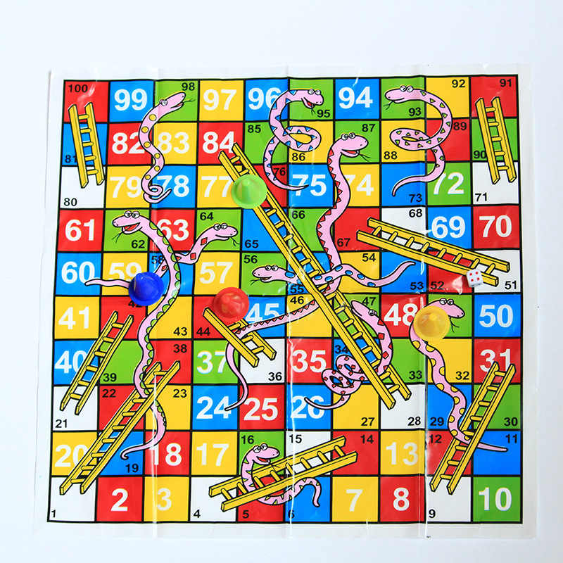 2Pcs 2019 Foreign Trade New Product Blown Paper Snake Chess Snake Ladder  Chess Children's Puzzle Game Chess