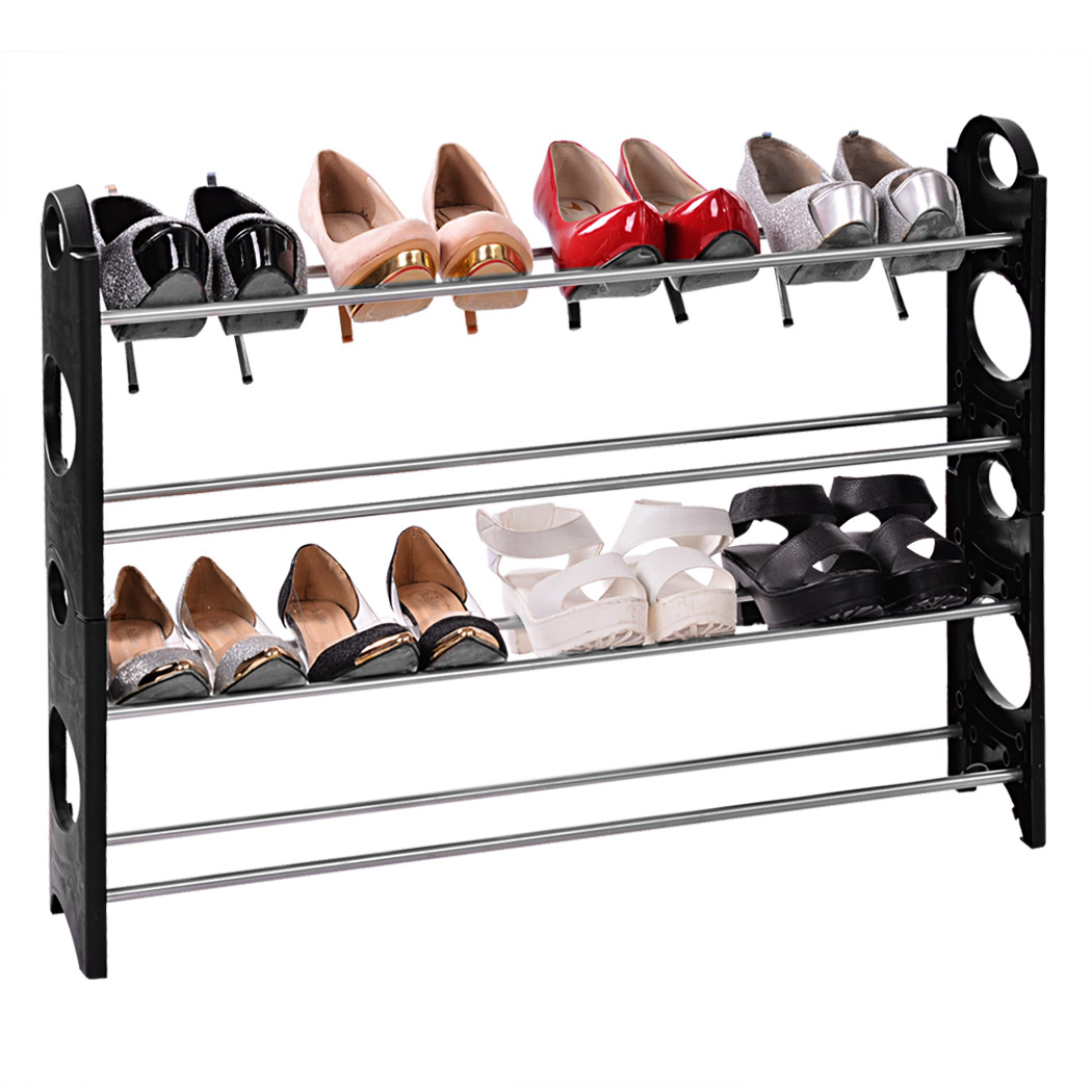 Aluminum 4 Tier Shoe Tower Rack Stand Space Saving Organiser Storage Unit Shelves Black Shoe Racks #5020 the idea тумба под тв case 2
