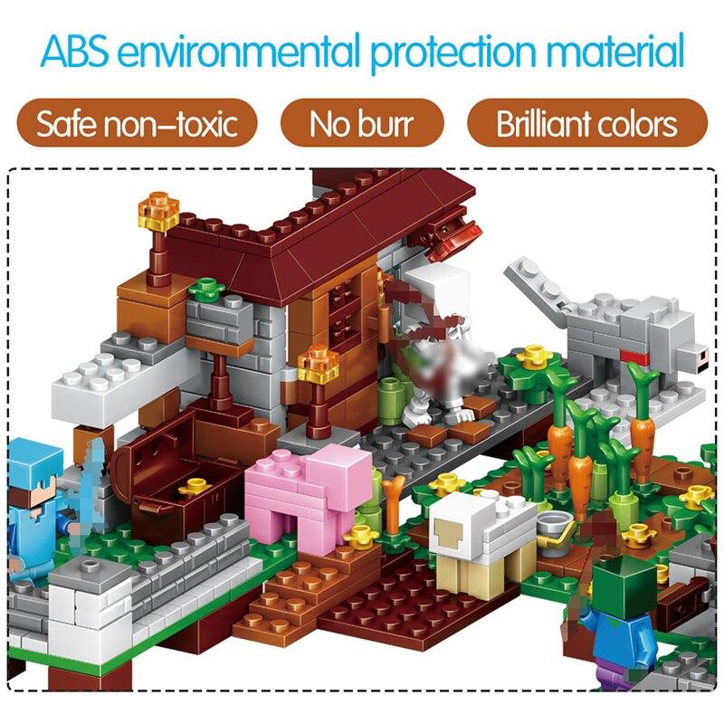 1208 pièces Mon Monde blocs de construction LegoING Minecrafted Village Cheval de Bataille Ville cabane Cascade jouets éducatifs Pour Enfants - 4