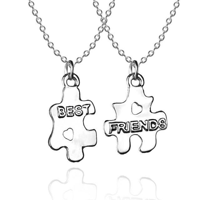 918c7ae8b1f5 2 unids set Mejor Amigo Amistad Para Siempre Pareja Puzzle Collares  pendientes de Plata Collar