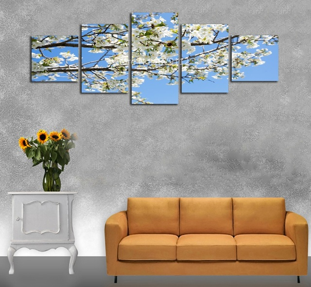 White Cherry Blossoms Japanese Spring Landscape Beautiful Flower Canvas Art No Frame Painting Living Room Wall & White Cherry Blossoms Japanese Spring Landscape Beautiful Flower ...