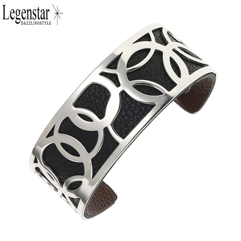 Legenstar Opening Cuff Bangle &Bracelet for Women Stainless Steel Bracelet Argent  Manchette Bangle Interchangeable Leather Band