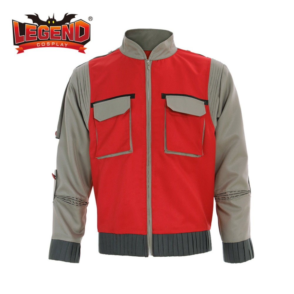 Back To The Future Marty McFly Jacket Cosplay Costume Outfit Adult Custom Made Back To The Future Marty McFly Bomber Jacket