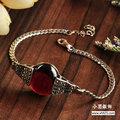 La joyería de plata negro venta al por mayor plata de ley 925 pulsera con incrustaciones de marcasita granate pulsera mujer xh025333w