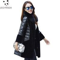 100% натуральный мех пальто лисий меховой воротник натуральная кожа овчина пуховик женский Зимний натуральный длинный шерстяной пальто плюс