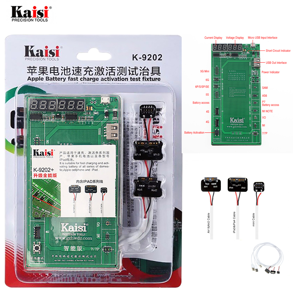 kaisi K-9202 <font><b>16</b></font> in <font><b>1</b></font> Battery Charging Activation Test Fixture for Apple and iPad <font><b>2</b></font>/3/4/5/6 Circuit Current Testing Cable
