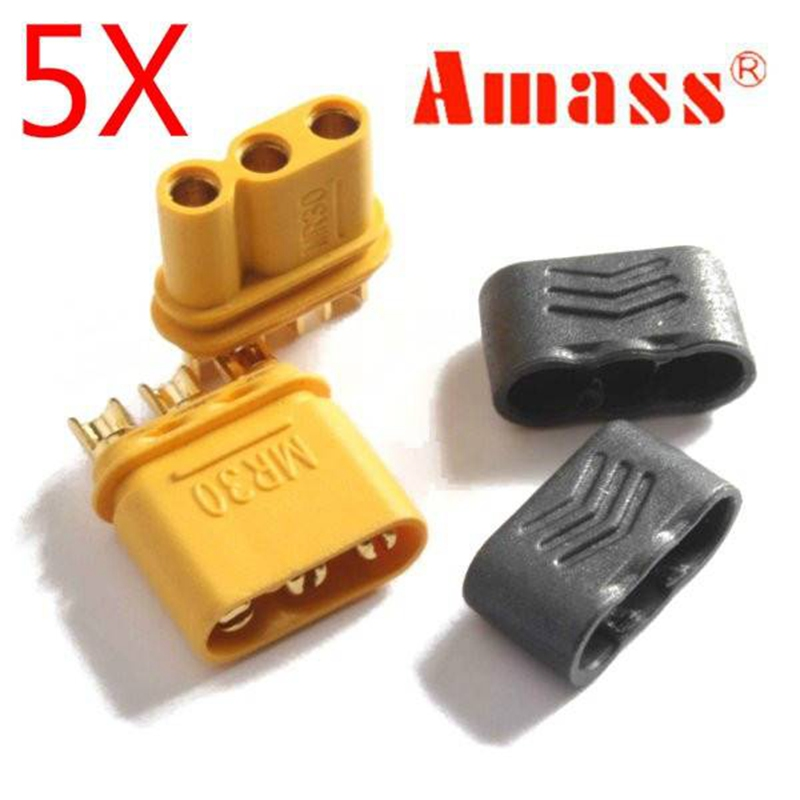 5 Pairs Amass MR30 Connector Plug With Sheath Female & Male Gold Plated For Rc Parts 10 pairs hot selling yellow xt30 xt60 xt90 high quality male female gold plated battery connector plug for rc aircraft