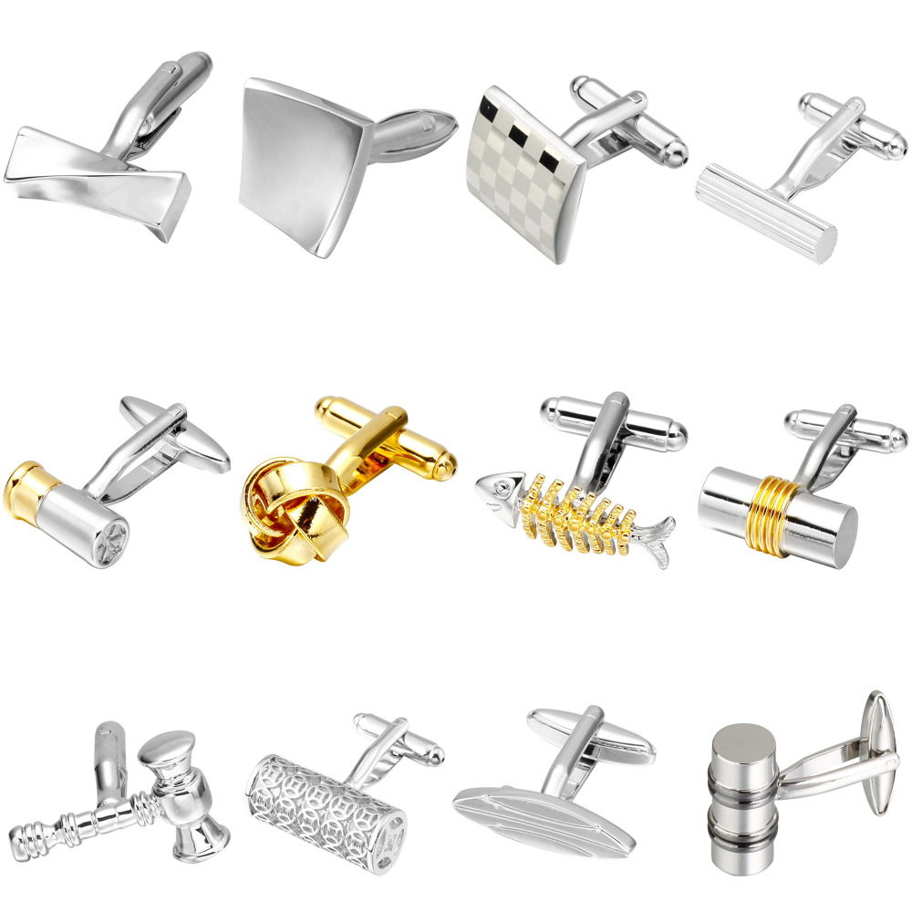 Memolissa Trendy Men's Shirt Cufflinks Gold Silver 18 Choice Square / Round / Knot / Cylinder / Fish Design High-grade Cufflinks