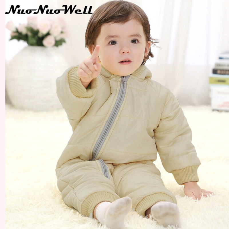 Baby Winter Rompers 0-2 year Baby Jumpsuits Hooded Thick Warm Cute Newborn Outerwear Long Sleeve Boys Girls Clothes Thick Clothe 2017 baby boys girls long sleeve winter rompers thicken warm baby winter clothes roupa infantil boys girls outfits cc456 cgr1