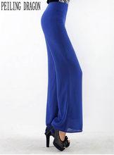 ad205274ab05 Peiling Dragon 2017 mujeres nueva gasa del color sólido flojo pierna ancha  pantalones simple recta casual