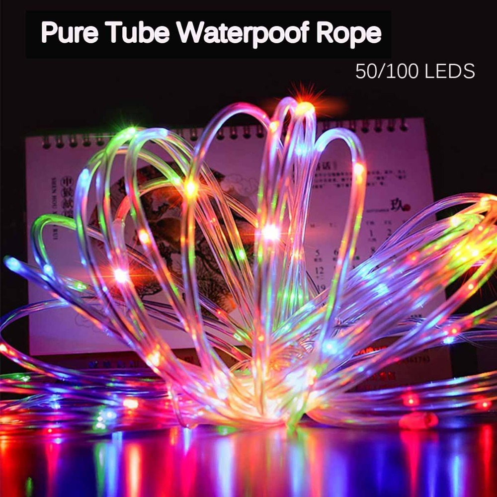 7M 100 LED Christmas Solar Rope Lights Waterproof Copper Wire Pure Tube Rope String Light For Outdoor Indoor Home Garden Parties