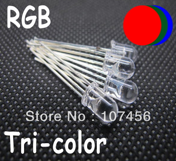 1000PC 5MM 4pin Common cathode RGB Tri-Color Red Green Blue LED Ultra-Bright