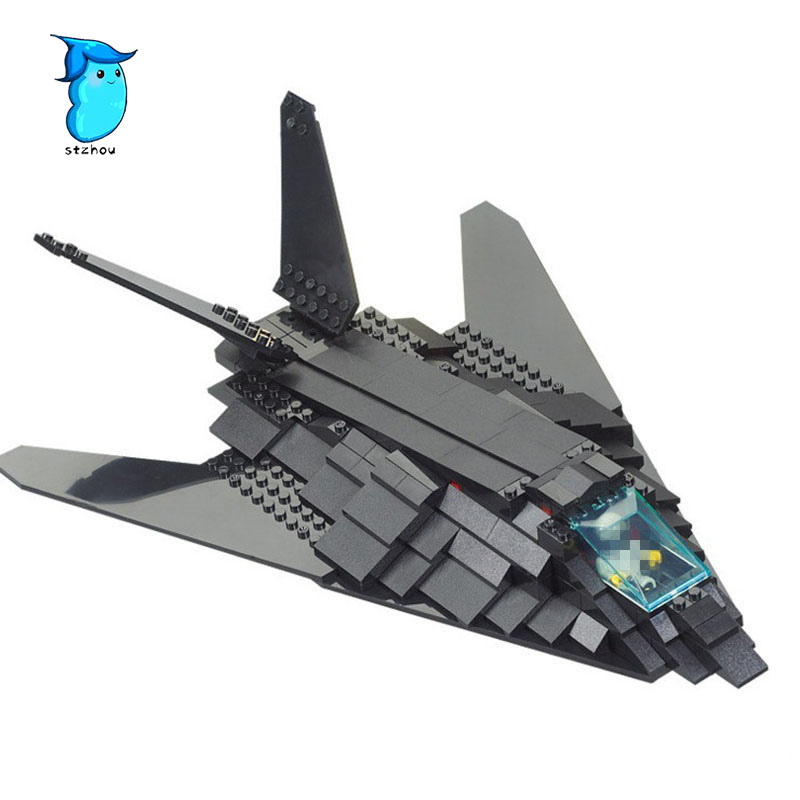 Building Block Sets Compatible with legos military F-117 stealth bomber 3D Construction Brick Educational Hobbies Toys for Kids loz mini diamond block world famous architecture financial center swfc shangha china city nanoblock model brick educational toys