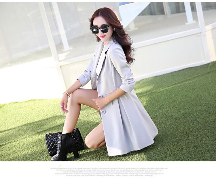 Super Pretty  Elegant Trench Coat Women Windbreaker Ladies Peplum Jacket Pink Grey Green Manteau Femme Silm Long Blazers cc