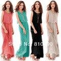 Большой размер S~XXXL длинные платья женские бохо макси платье шифон рукава летние платья 8 цветов плиссировочный длинный сарафан свободного покроя распродажа большие размеры бесплатная доставка