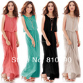 PLUS Size S~XXXL Women Ladies Boho Maxi Dress Chiffon Sleeveless Girl Dresses 8 Colors Pleated Long Sundress Lady Casual Dress