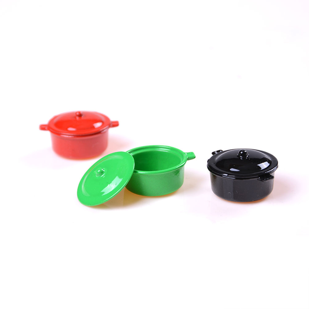 Energetic Dollhouse Miniature Kitchen Utensil Cookware Metal Casserole Dish Stew Pan Stockpot Furniture Toys