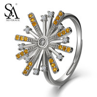 SA SILVERAGE 925 Sterling Silver Women Rings Girl Pure Silver Female Ring S925 Fine Jewelry Office