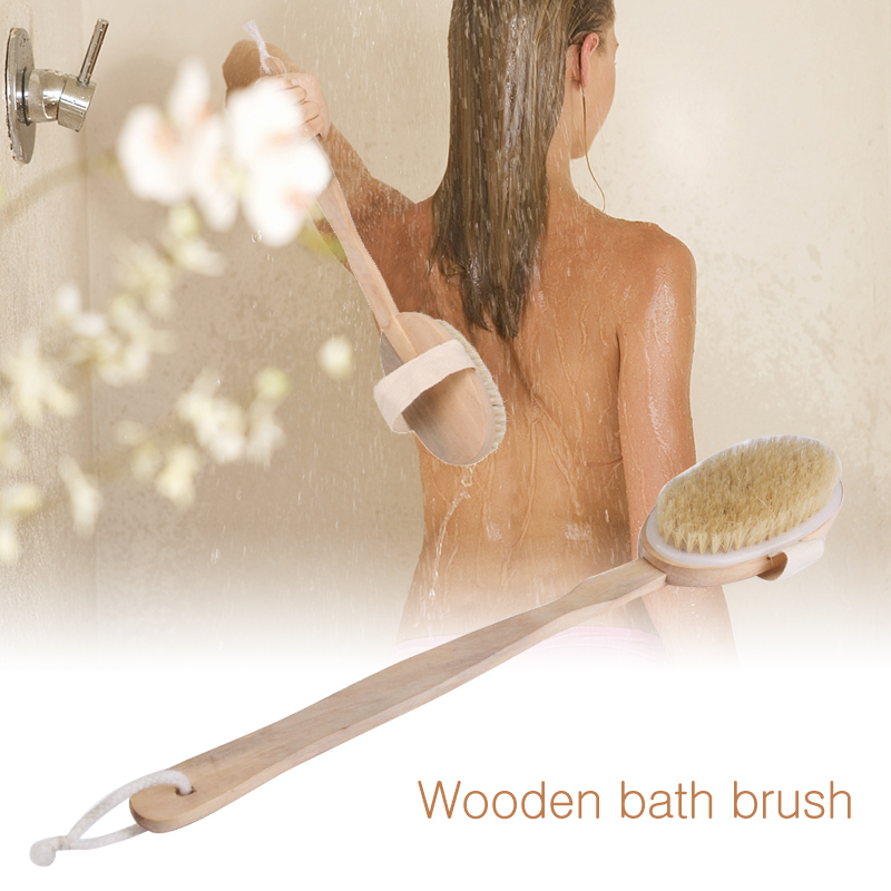 Hot Dry Skin Body Soft Natural Bristle The SPA The Brush Wooden Bath Shower Bristle Brush SPA Body Brush With Long Handle(China)