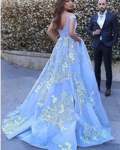 Image 2 - Elegant Off the Shoulder Ball Gown Satin Prom Dresses 2021 robe de soiree Lace Appliques Prom Evening Gown Quinceanera Gowns