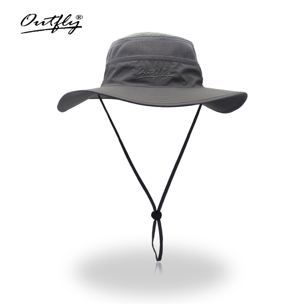 Summer Boonie Bucket Hats For Mens Fisherman Hats With Wide Brim Sun Fishing Bucket Hat Breathable mesh polyester quick cut