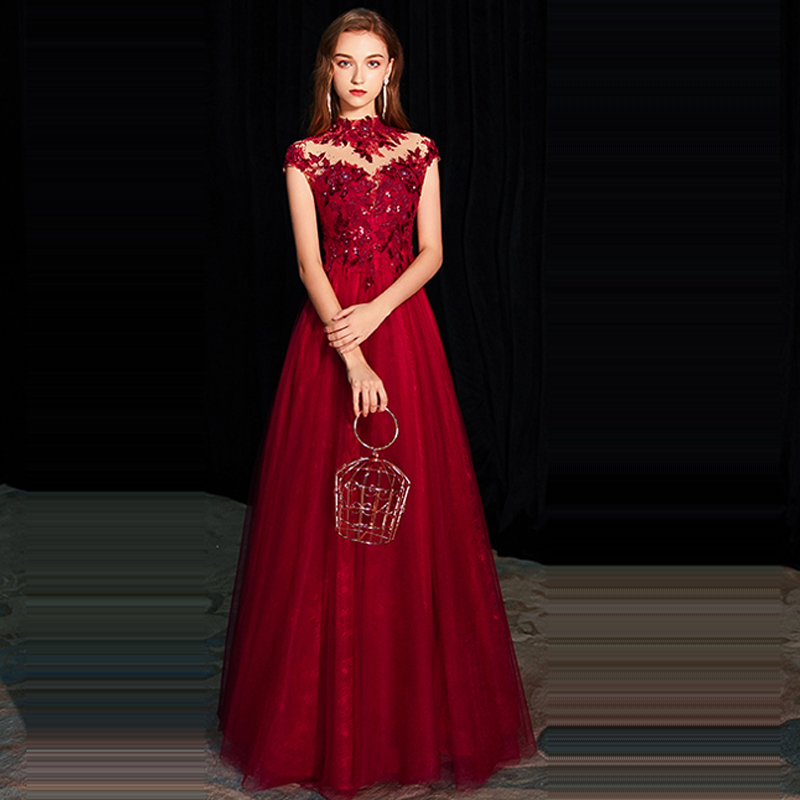Evening     Dress   High Collar Sleeveless Robe De Soiree Sexy Lace Women Party   Dresses   2019 Long Plus Size Sequin Formal Gowns E662