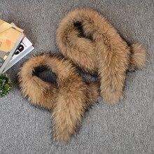 Толстый меховой воротник енотовидная собака бежевый реального 100% Материал 80-100 Длина зима теплая Стильный современный воротник 80-100 см SF13060-6