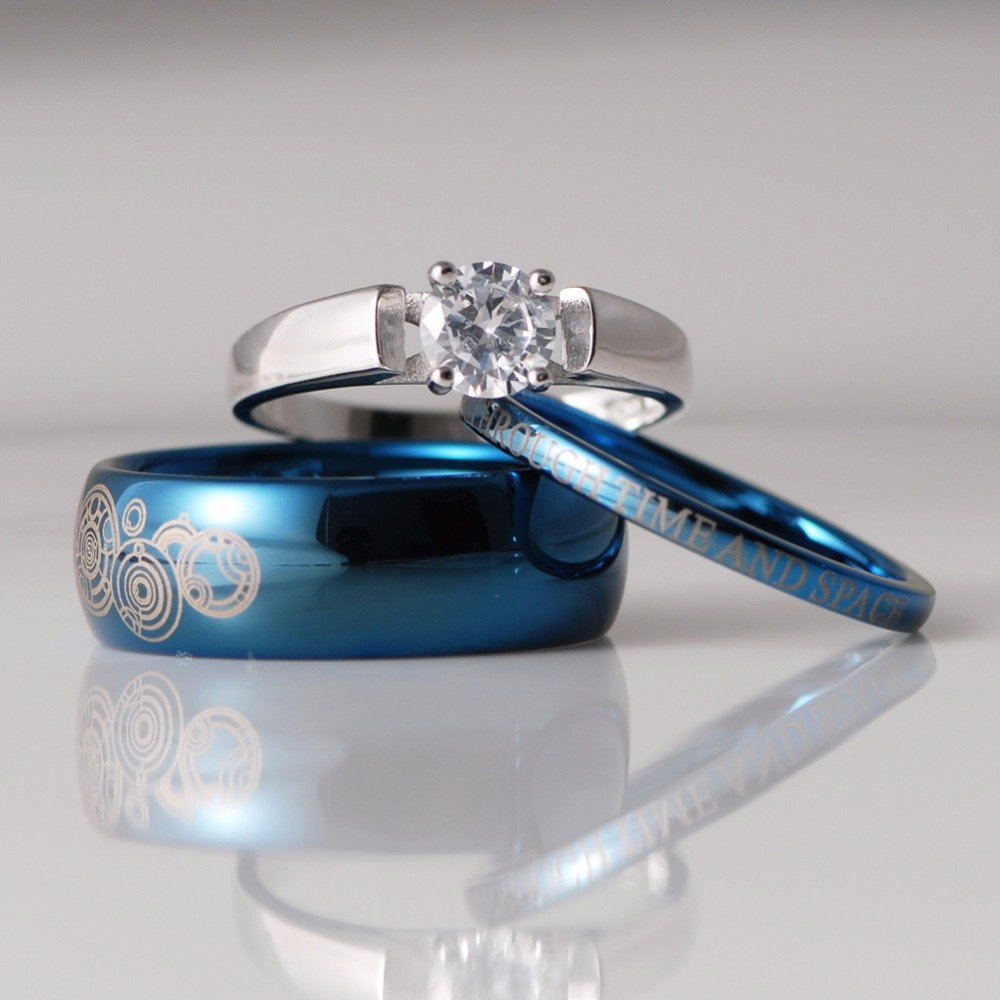 3 pièces bleu/noir tungstène & argent Sterling 1.25 Carat CZ Solitaire ensembles de mariage médecin qui Engarving anneaux de mariage amoureux anneaux