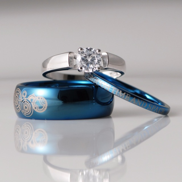 3pcs Blue Black Tungsten Sterling Silver 1 25 Carat Cz Solitaire Wedding Sets Doctor Who