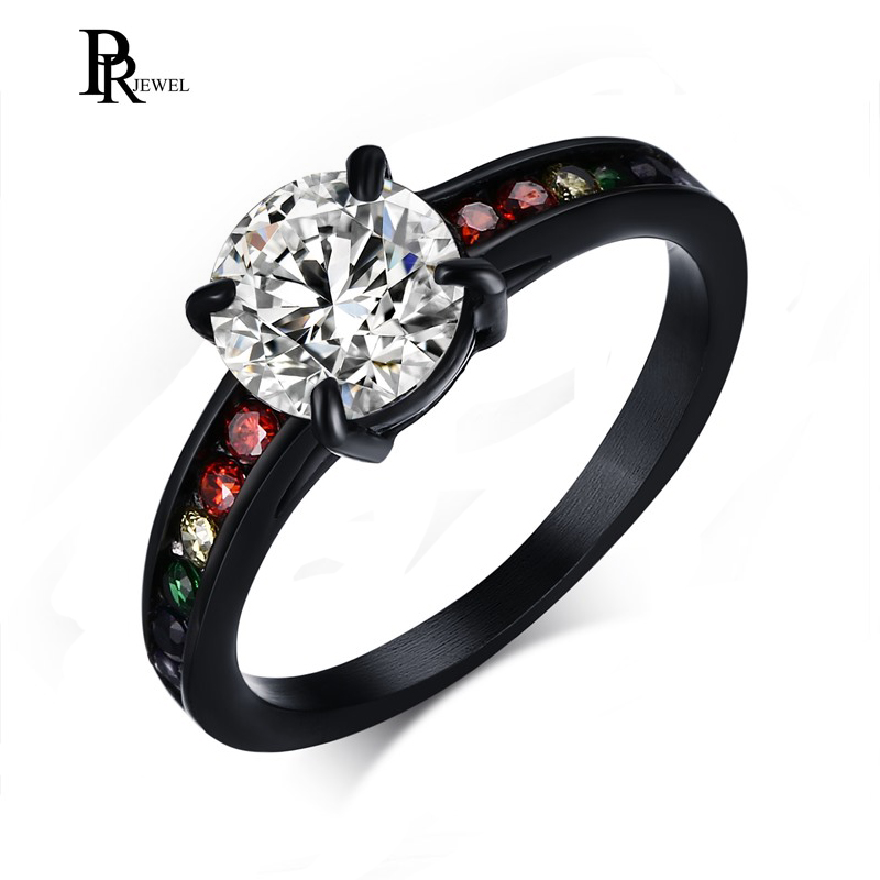 Rainbow Love Promise Rings for Her His Forever Stainless Steel Colorful CZ Crystal Gay Lesbian Solitaire Wedding Engagement Ring black wedding rings for her