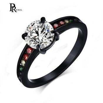 6fef3461fd04 Arcoíris Love Promise anillos para ella para siempre Acero inoxidable  colorido CZ cristal Gay lesbiana solitario anillo de compromiso de boda