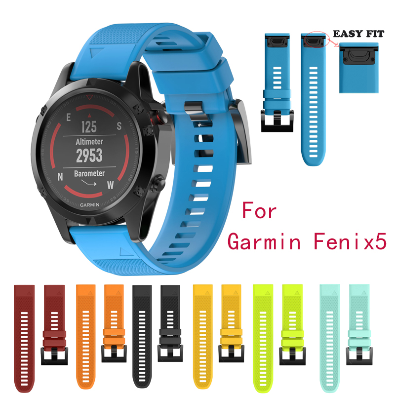 22mm Width Outdoor Sport watch band Easy Fit Silicone Strap Watchband for Garmin Band, Silicone Band for Garmin Fenix 5 22mm woven nylon strap replacement quick release easy fit band for garmin fenix 5 forerunner935 approach s60