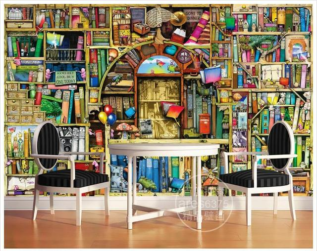 3d Wallpaper Murals For Walls 3 D Cartoon Hand Painted Bookcase Bookshelf Children