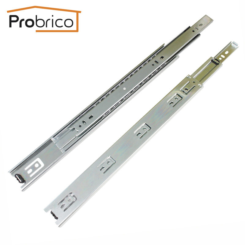 Probrico 18 Ball Bearing Slides 10 Pair Kitchen Furniture Drawer Rail DS4501-18 Steel Full Extension Guides Glides Heavy Duty probrico 10 pair 12 soft close ball bearing rail kitchen furniture drawer slide ds4502s2 12a usa domestic delivery