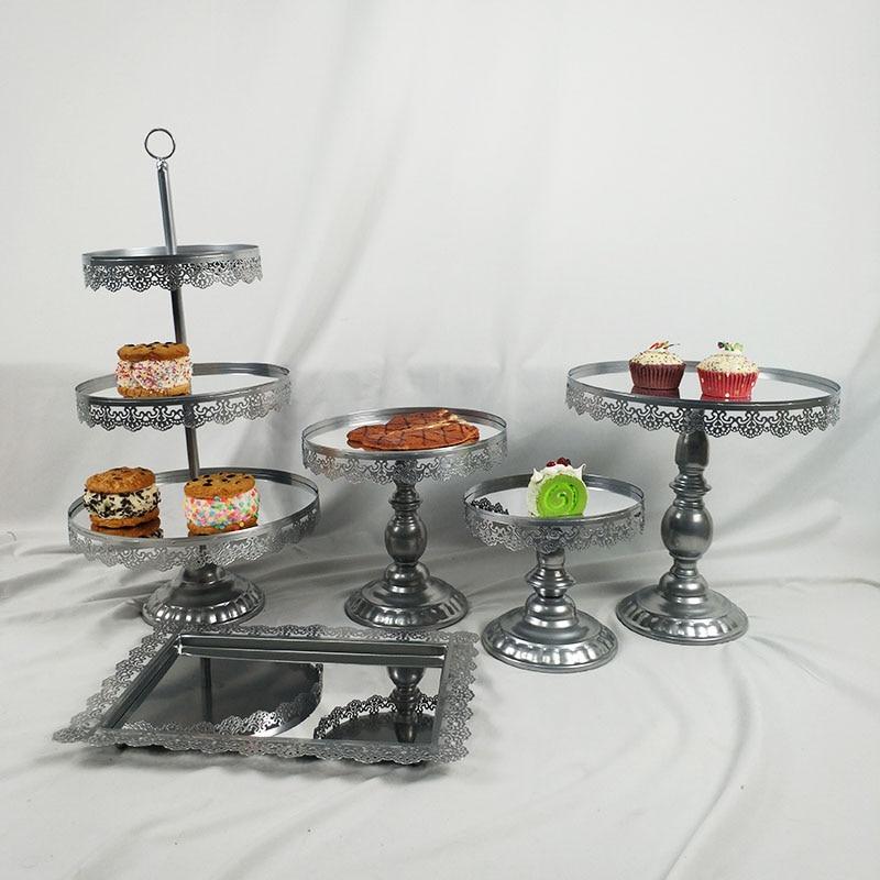 5 pièces/ensemble Miroir De Mariage Décoration 3 Affichage Cupcake Palier En Métal Gâteau Stand