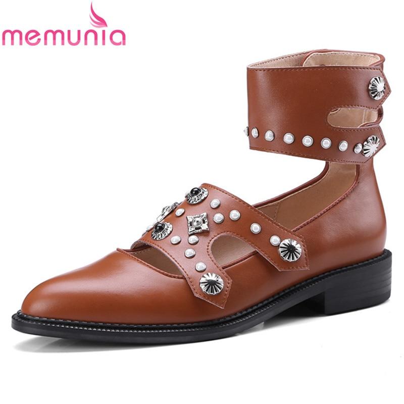 все цены на MEMUNIA new arrival genuine leather+pu spring autumn single restoring shoes fashion rivets shallow women pumps high heels shoes