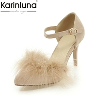 Karinluna 2018 Large Size 32 43 Pointed Toe Ankle Strap Summer Shoes Women Sandal Sexy Fur Thin High Heels Party Sandals