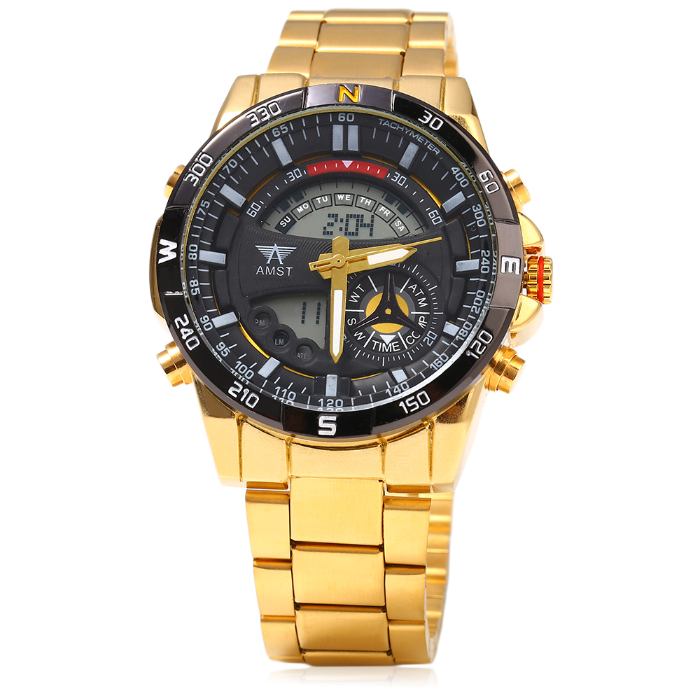 AMST Full Stainless Steel Golden Gold Men s Watch 30m Resistant LED Digital Analog Quartz Watch
